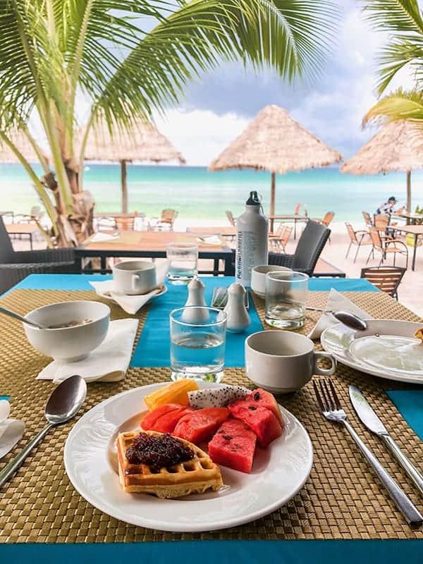 breakfast set up looking at sea