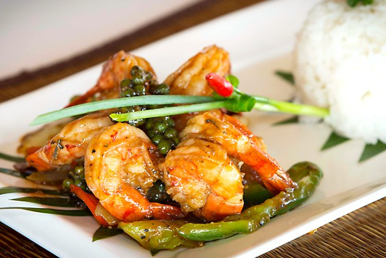 shrimps with green pepper